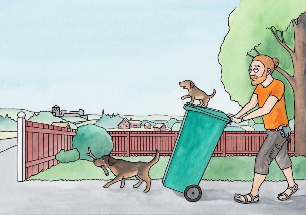 Gör plats för soptunnan - Illustration till inspirationsbroschyr för Kungälvs kommun
