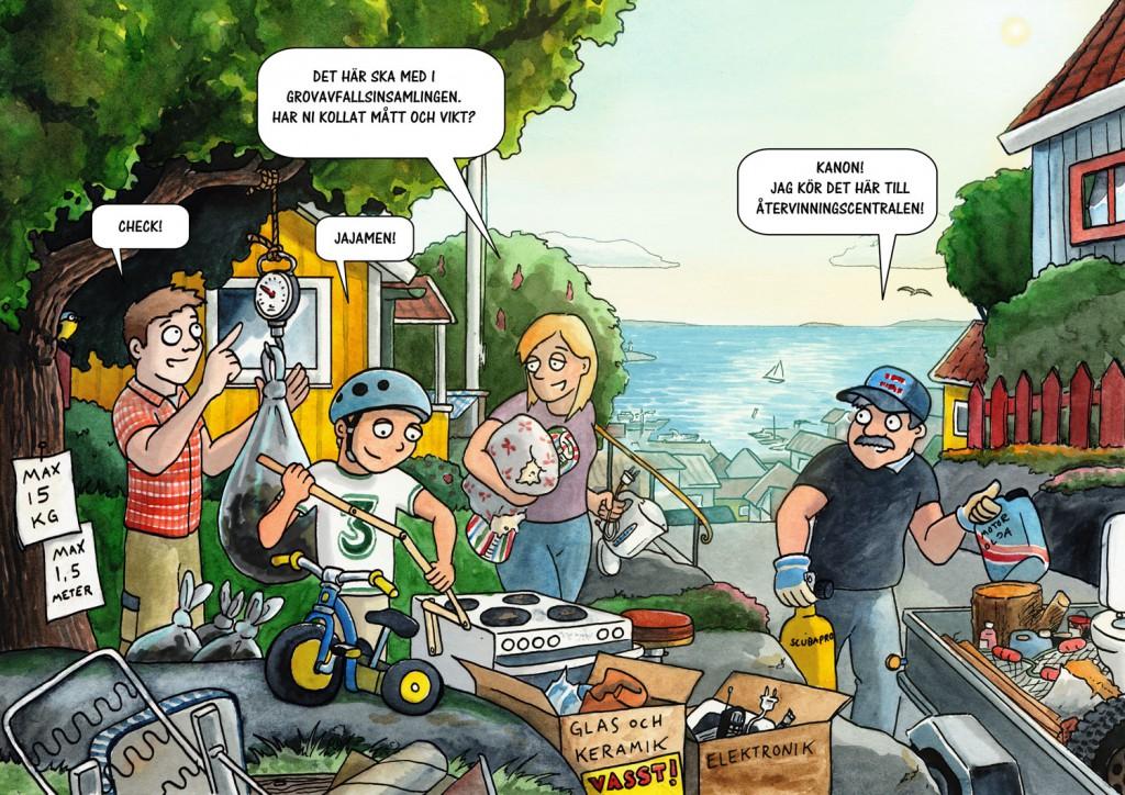 Grovavfall - Illustration till broschyr för Kungälvs kommun
