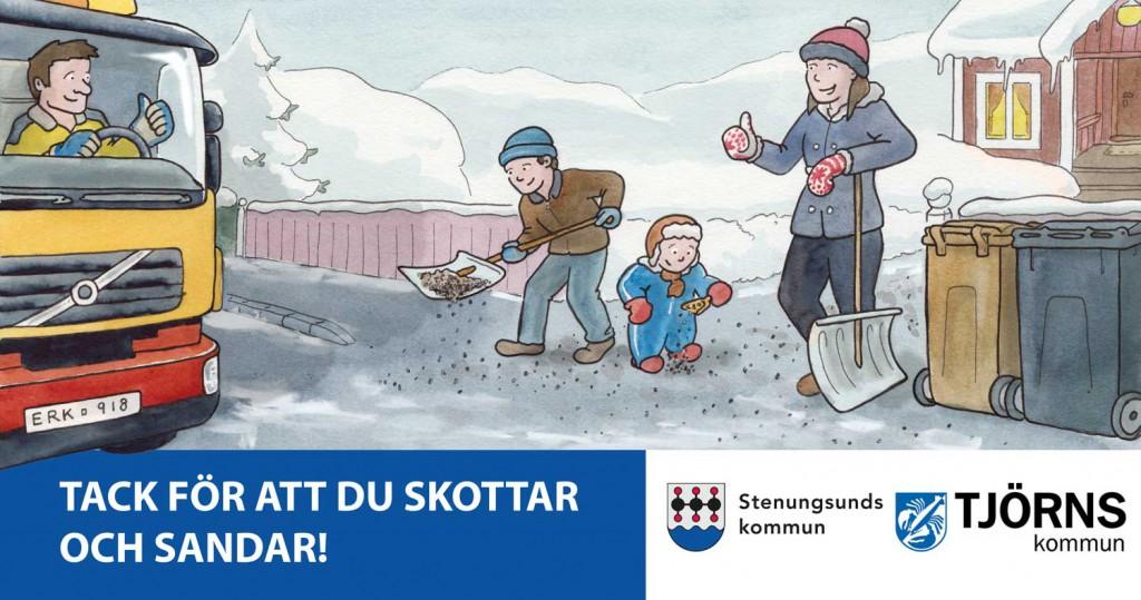 Halkfritt - Illustration till dekal på sophämtningsfordon för Stenungsunds och Tjörns kommuner