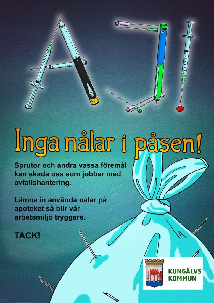 Inga nålar i påsen - Illustration till anslag för Kungälvs kommun
